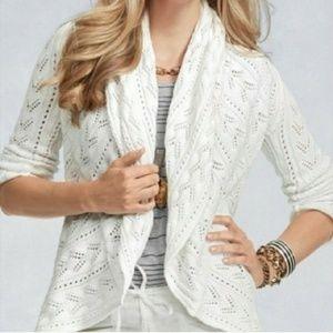 Cabi #720 White Circle Cardigan Sweater Medium